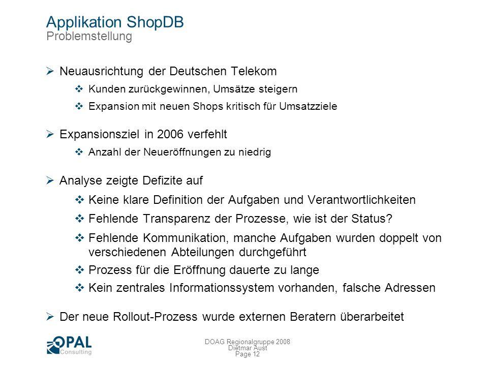 Page 11 DOAG Regionalgruppe 2008 Dietmar Aust Applikation AbiT Nächste Schritte Von vornherein als Übergangslösung geplant Mittlerweile seit Okt. 2006