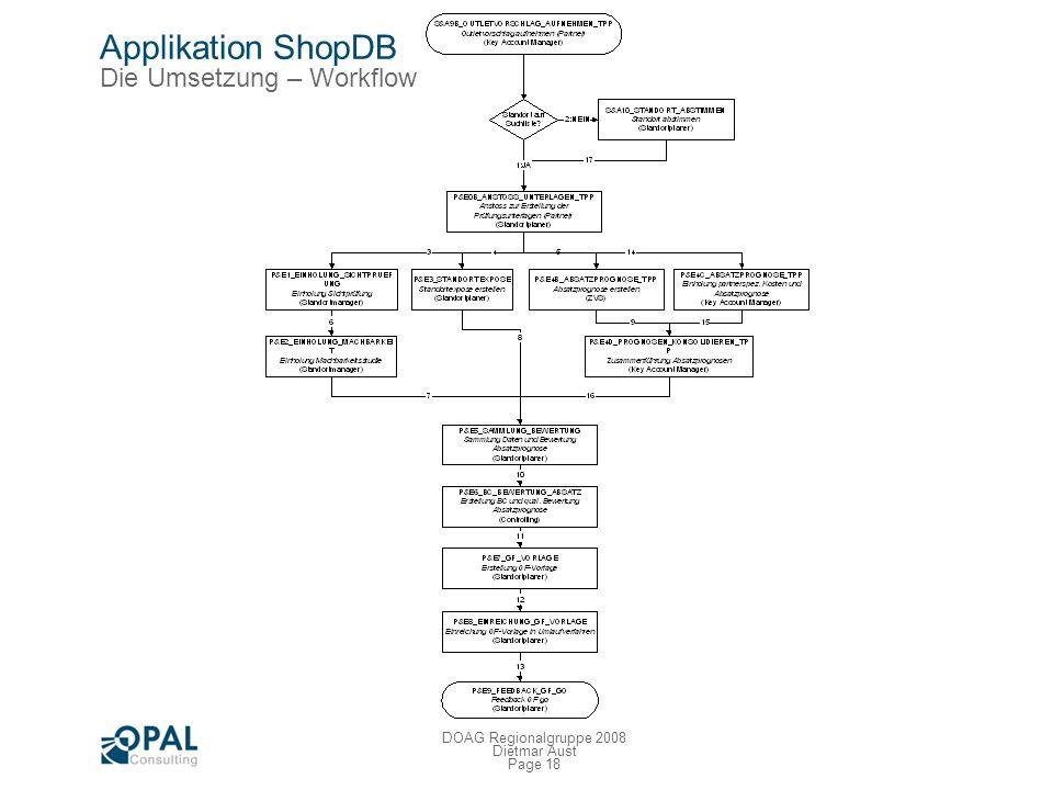 Page 17 DOAG Regionalgruppe 2008 Dietmar Aust Applikation ShopDB Die Umsetzung – MS Access Migration Probleme: Wer entwickelt diese Applikationen? MS