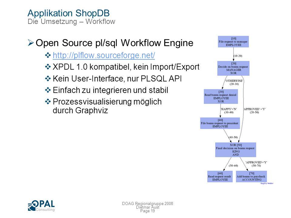 Page 18 DOAG Regionalgruppe 2008 Dietmar Aust Applikation ShopDB Die Umsetzung – Workflow