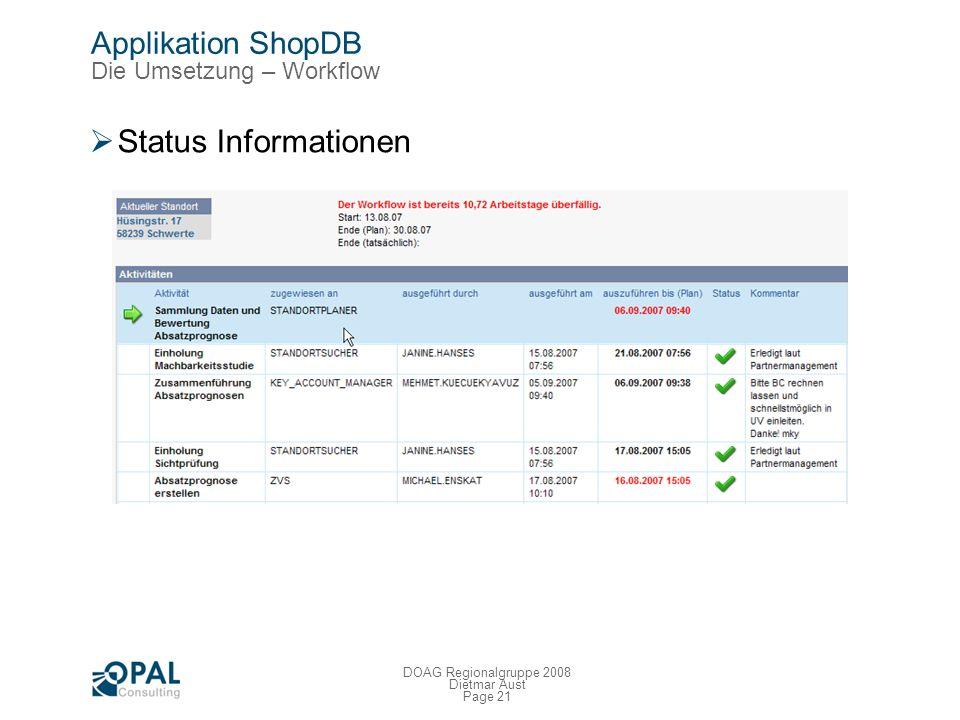 Page 20 DOAG Regionalgruppe 2008 Dietmar Aust Applikation ShopDB Die Umsetzung – Workflow Rollenbasierte ToDo-Liste Email Benachrichtigungen Neue Aufg