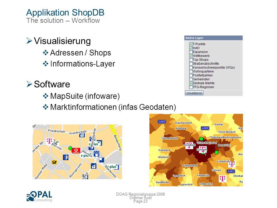 Page 22 DOAG Regionalgruppe 2008 Dietmar Aust Applikation ShopDB Die Umsetzung – Geokodierung von Adressen Ziele Eindeutige Schreibweise von Adressen