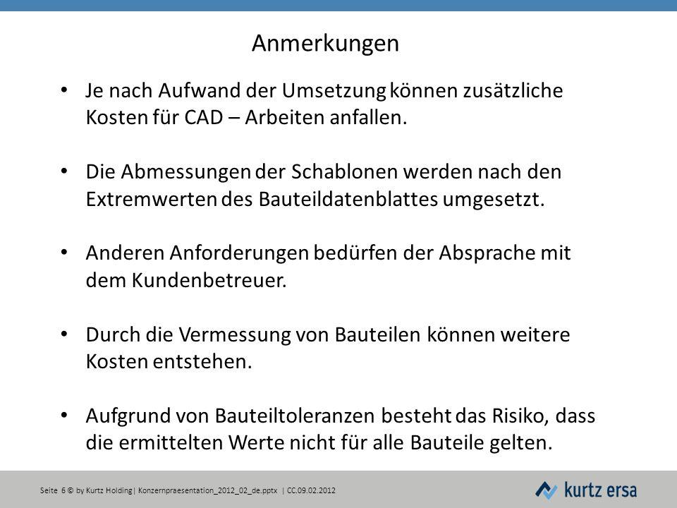Seite 6 © by Kurtz Holding| Konzernpraesentation_2012_02_de.pptx | CC.09.02.2012 Anmerkungen Je nach Aufwand der Umsetzung können zusätzliche Kosten für CAD – Arbeiten anfallen.