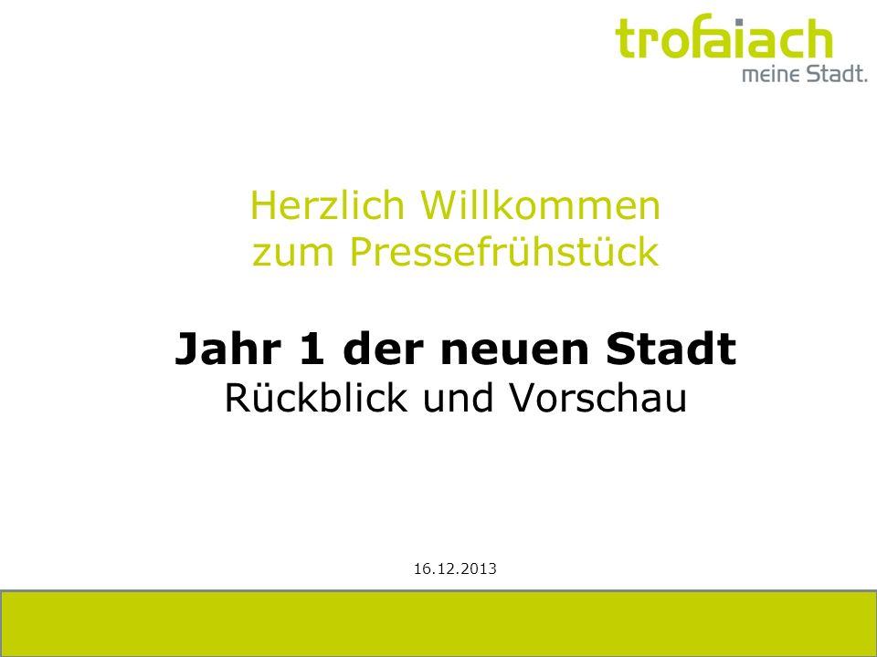 Herzlich Willkommen zum Pressefrühstück Jahr 1 der neuen Stadt Rückblick und Vorschau 16.12.2013