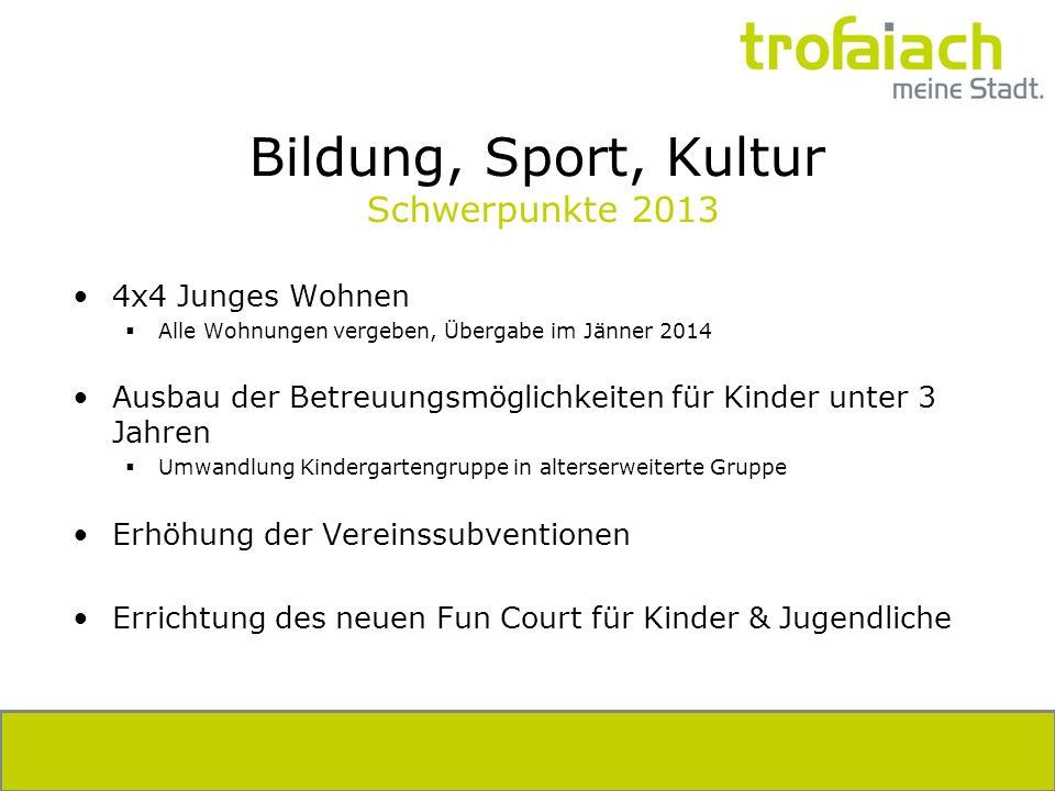 Bildung, Sport, Kultur Schwerpunkte 2013 4x4 Junges Wohnen Alle Wohnungen vergeben, Übergabe im Jänner 2014 Ausbau der Betreuungsmöglichkeiten für Kin