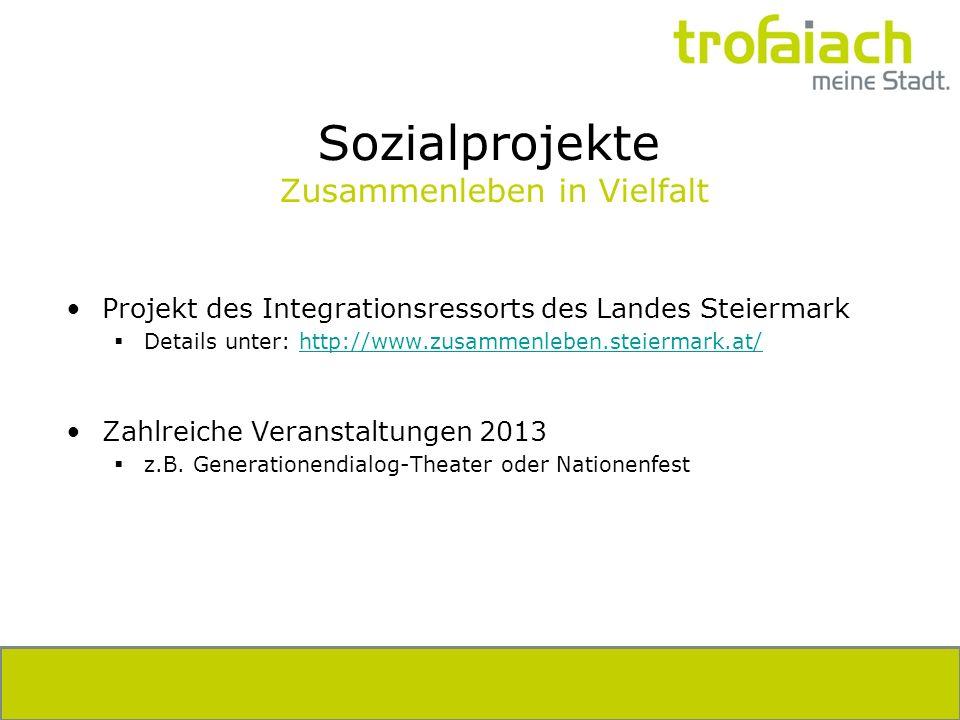 Sozialprojekte Zusammenleben in Vielfalt Projekt des Integrationsressorts des Landes Steiermark Details unter: http://www.zusammenleben.steiermark.at/