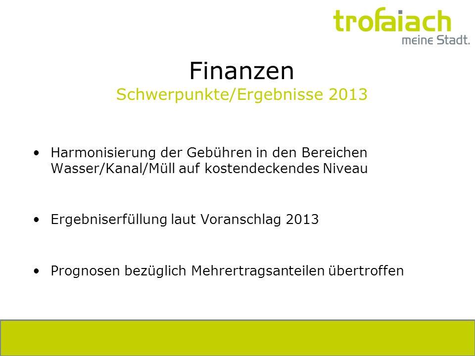 Finanzen Schwerpunkte/Ergebnisse 2013 Harmonisierung der Gebühren in den Bereichen Wasser/Kanal/Müll auf kostendeckendes Niveau Ergebniserfüllung laut