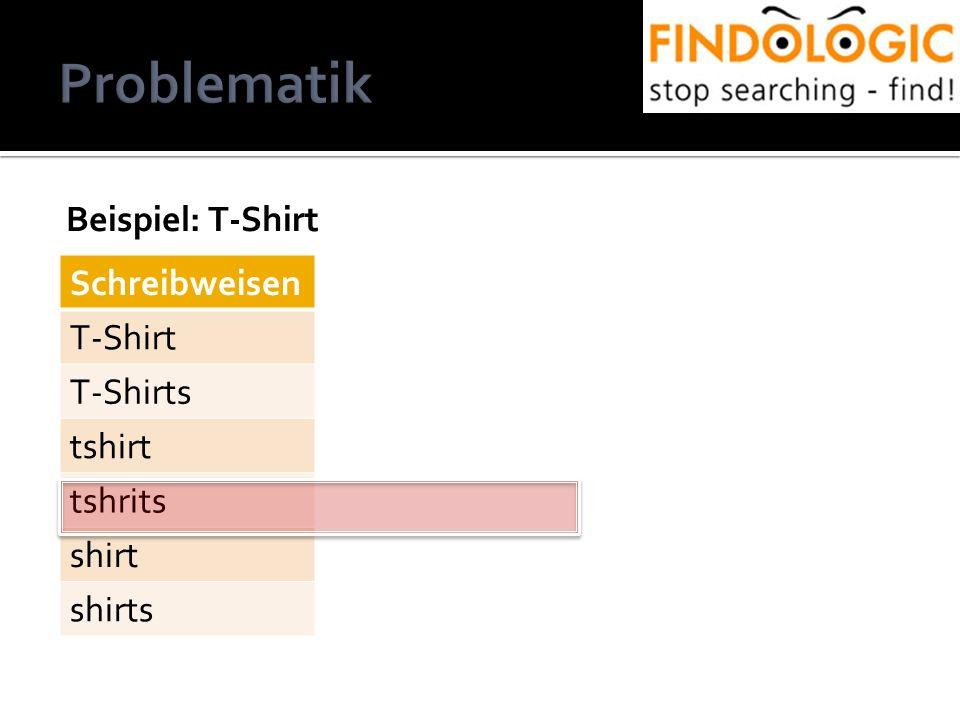 Beispiel: T-Shirt www.leiner.at Schreibweisen T-Shirt T-Shirts tshirt tshrits shirt shirts
