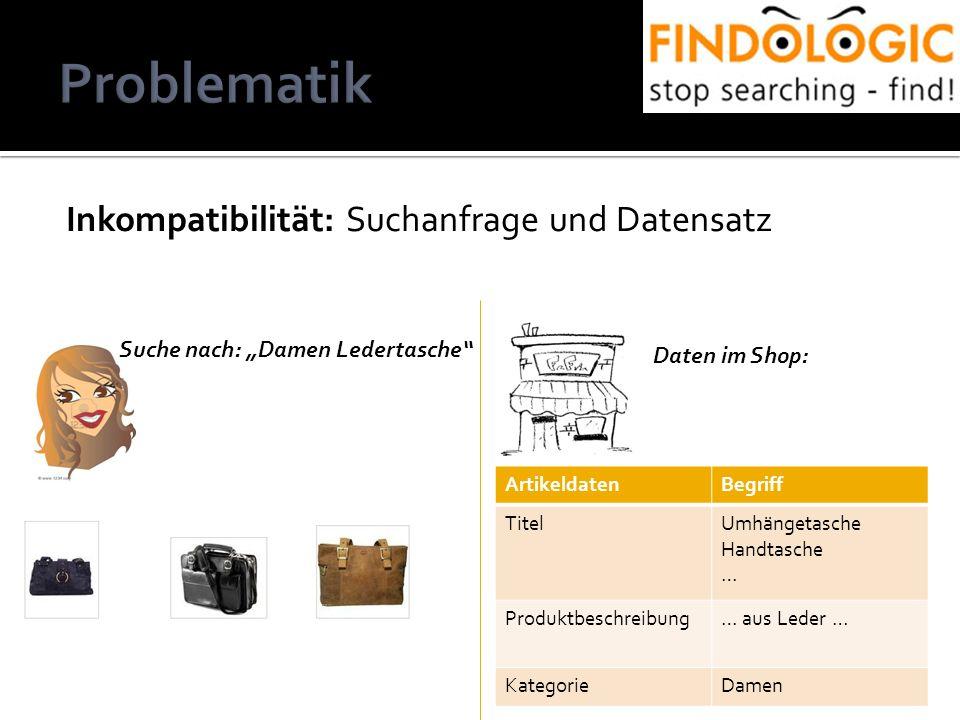 Inkompatibilität: Suchanfrage und Datensatz ArtikeldatenBegriff TitelUmhängetasche Handtasche … Produktbeschreibung… aus Leder … KategorieDamen Suche nach: Damen Ledertasche Daten im Shop:
