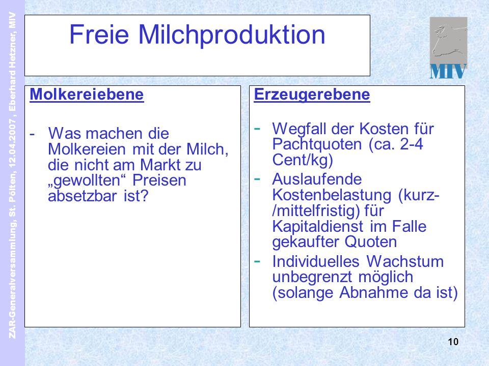 ZAR-Generalversammlung, St. Pölten, 12.04.2007, Eberhard Hetzner, MIV 10 Freie Milchproduktion Molkereiebene - Was machen die Molkereien mit der Milch