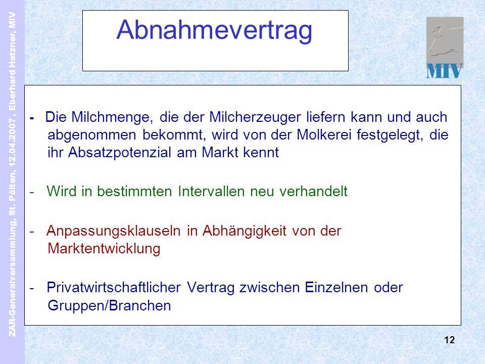 ZAR-Generalversammlung, St. Pölten, 12.04.2007, Eberhard Hetzner, MIV 12 Abnahmevertrag - Die Milchmenge, die der Milcherzeuger liefern kann und auch