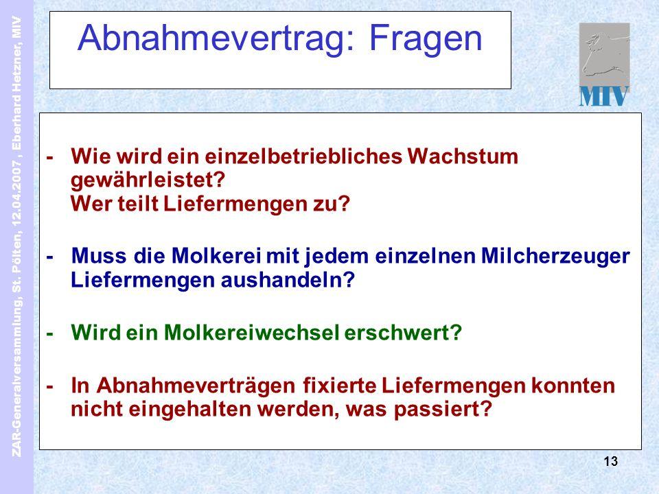 ZAR-Generalversammlung, St. Pölten, 12.04.2007, Eberhard Hetzner, MIV 13 Abnahmevertrag: Fragen - Wie wird ein einzelbetriebliches Wachstum gewährleis