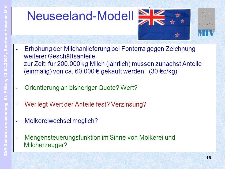 ZAR-Generalversammlung, St. Pölten, 12.04.2007, Eberhard Hetzner, MIV 16 Neuseeland-Modell - Erhöhung der Milchanlieferung bei Fonterra gegen Zeichnun
