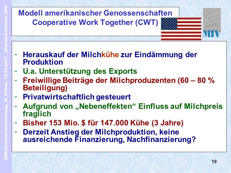 ZAR-Generalversammlung, St. Pölten, 12.04.2007, Eberhard Hetzner, MIV 19 Modell amerikanischer Genossenschaften Cooperative Work Together (CWT) - Hera