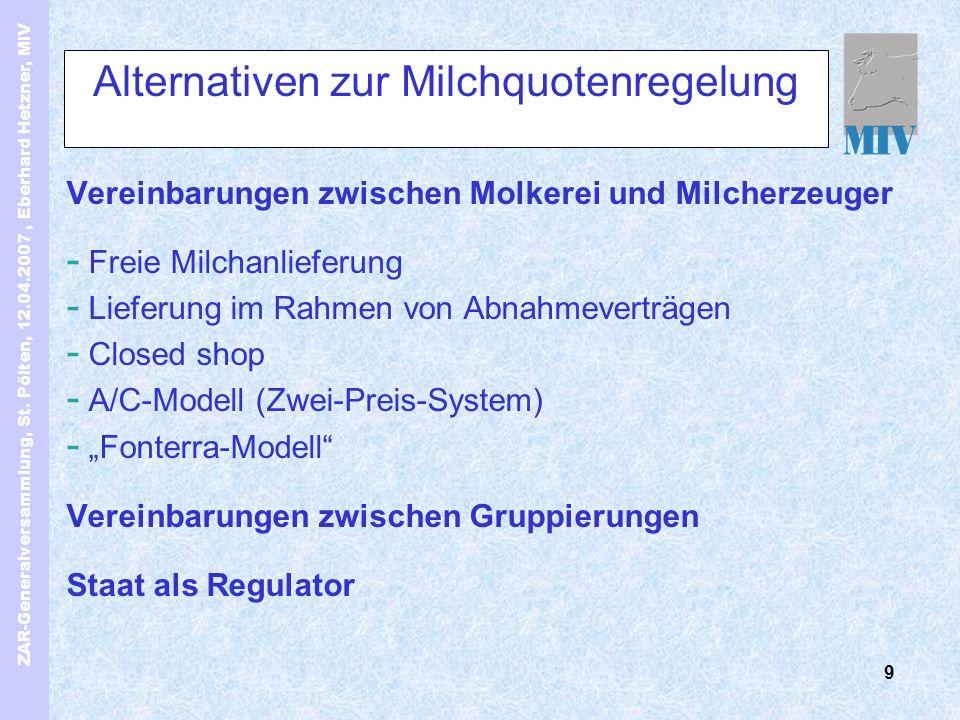 ZAR-Generalversammlung, St. Pölten, 12.04.2007, Eberhard Hetzner, MIV 9 Alternativen zur Milchquotenregelung Vereinbarungen zwischen Molkerei und Milc