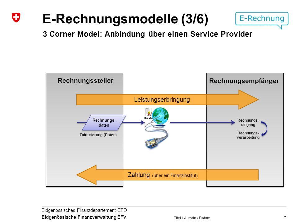 7 Eidgenössisches Finanzdepartement EFD Eidgenössische Finanzverwaltung EFV Leistungserbringung Zahlung (über ein Finanzinstitut) Rechnungs- eingang Rechnungssteller Rechnungsempfänger Titel / AutorIn / Datum E-Rechnungsmodelle (3/6) 3 Corner Model: Anbindung über einen Service Provider Rechnungs- verarbeitung Fakturierung (Daten) Rechnungs- daten