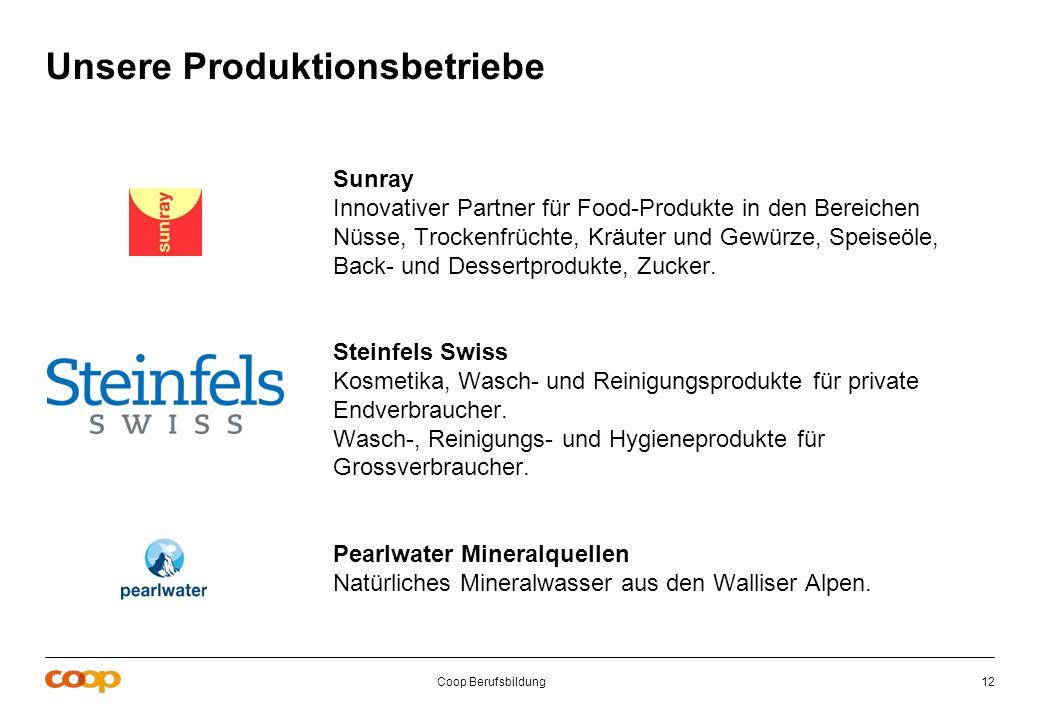 Coop Berufsbildung12 Unsere Produktionsbetriebe Sunray Innovativer Partner für Food-Produkte in den Bereichen Nüsse, Trockenfrüchte, Kräuter und Gewür