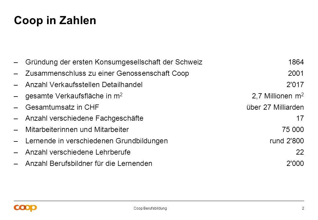 Coop Berufsbildung2 Coop in Zahlen –Gründung der ersten Konsumgesellschaft der Schweiz1864 –Zusammenschluss zu einer Genossenschaft Coop2001 –Anzahl V