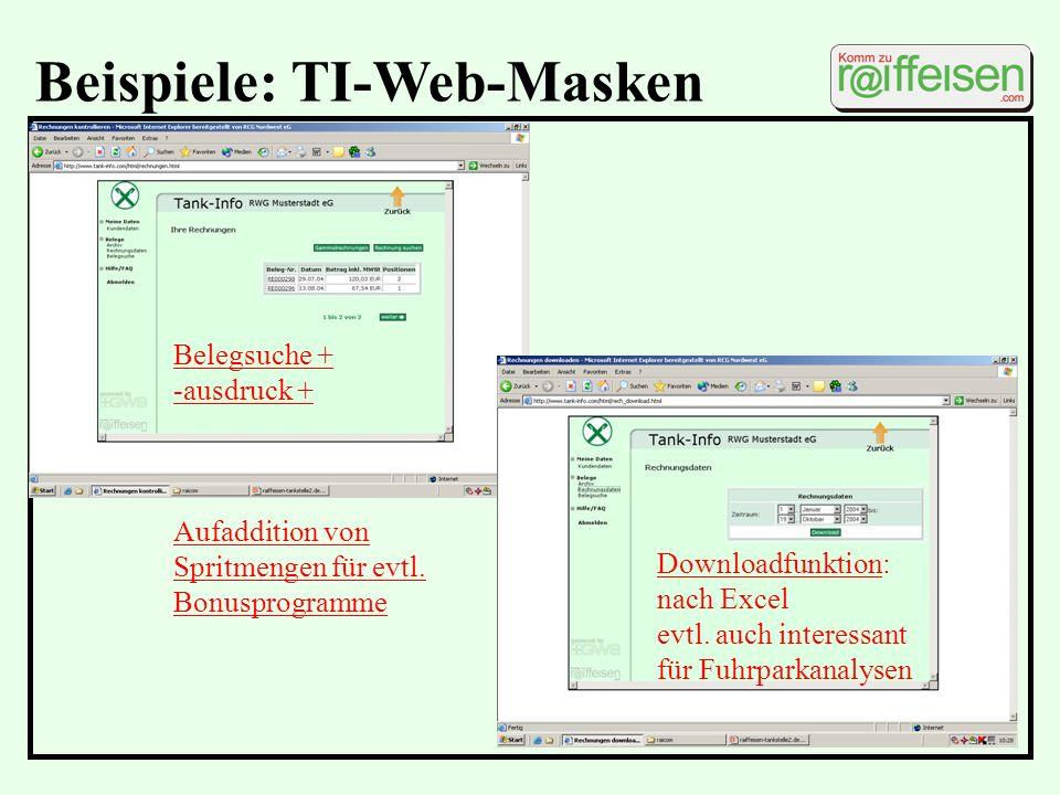 Beispiele: TI-Web-Masken Downloadfunktion: nach Excel evtl. auch interessant für Fuhrparkanalysen Belegsuche + -ausdruck + Aufaddition von Spritmengen