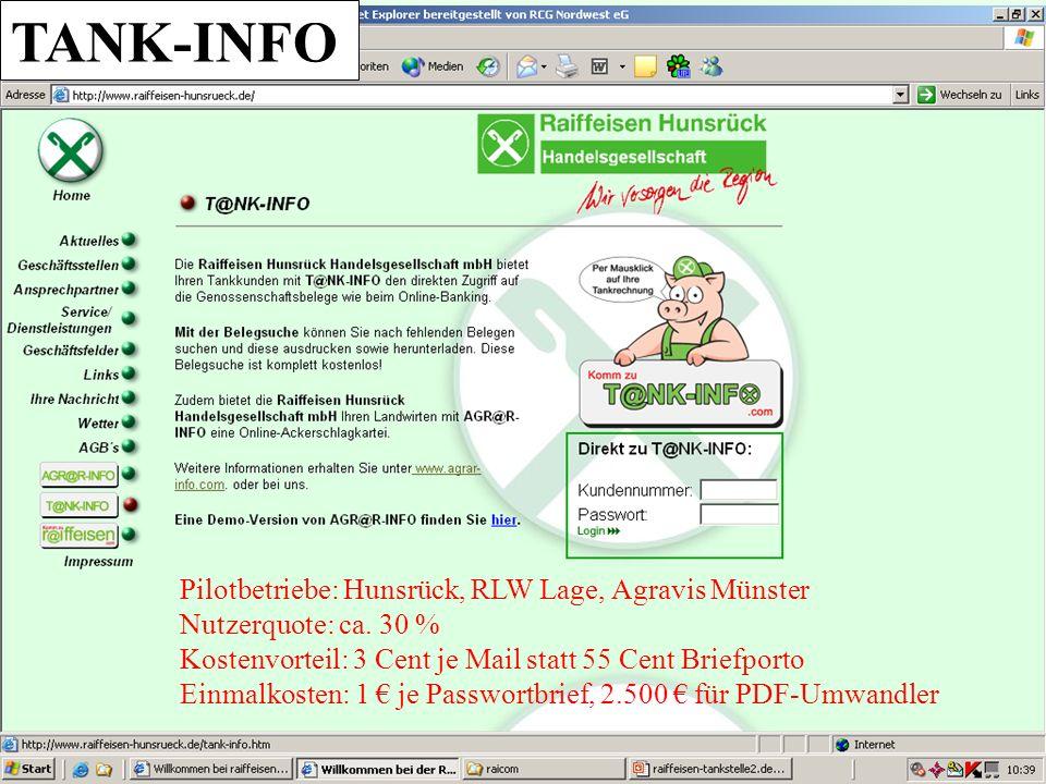 UA Pilotbetriebe: Hunsrück, RLW Lage, Agravis Münster Nutzerquote: ca. 30 % Kostenvorteil: 3 Cent je Mail statt 55 Cent Briefporto Einmalkosten: 1 je
