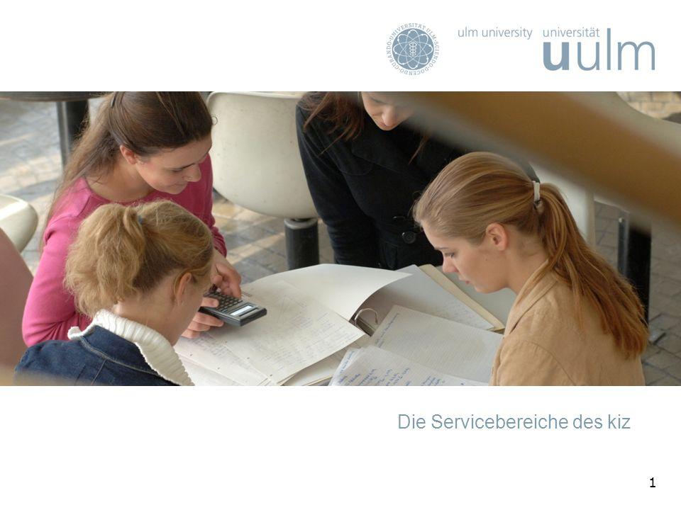 32 Funknetz / Wireless LAN (1) Informationen / Anleitungen kiz-homepage http://www.uni- ulm.de/einrichtungen/kiz.htmlhttp://www.uni- ulm.de/einrichtungen/kiz.html im Servicebereich Informationstechnik Netzwerk WLANNetzwerkWLAN WLAN-Karten in der Bibliotheks-Zentrale ausleihbar wie Bücher