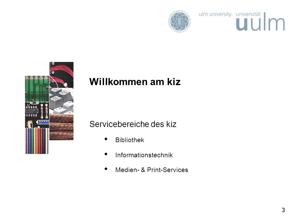 14 Führungen & Kurse (2) Themen, Termine und Anmeldung über das elektronische Veranstaltungsverzeichnis V V ZV V Z oder kiz-homepage http://www.uni-ulm.de/einrichtungen/kiz.htmlhttp://www.uni-ulm.de/einrichtungen/kiz.html unter Wichtige Links Kurse & Veranstaltungen BibliotheksführungenKurse & VeranstaltungenBibliotheksführungen bzw.