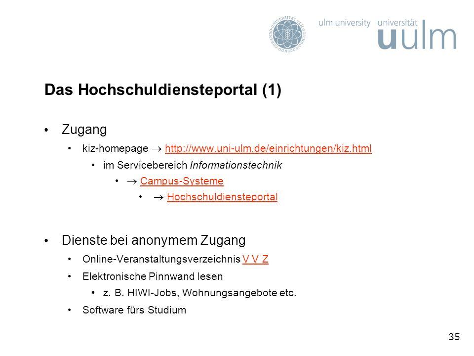 35 Das Hochschuldiensteportal (1) Zugang kiz-homepage http://www.uni-ulm.de/einrichtungen/kiz.htmlhttp://www.uni-ulm.de/einrichtungen/kiz.html im Serv