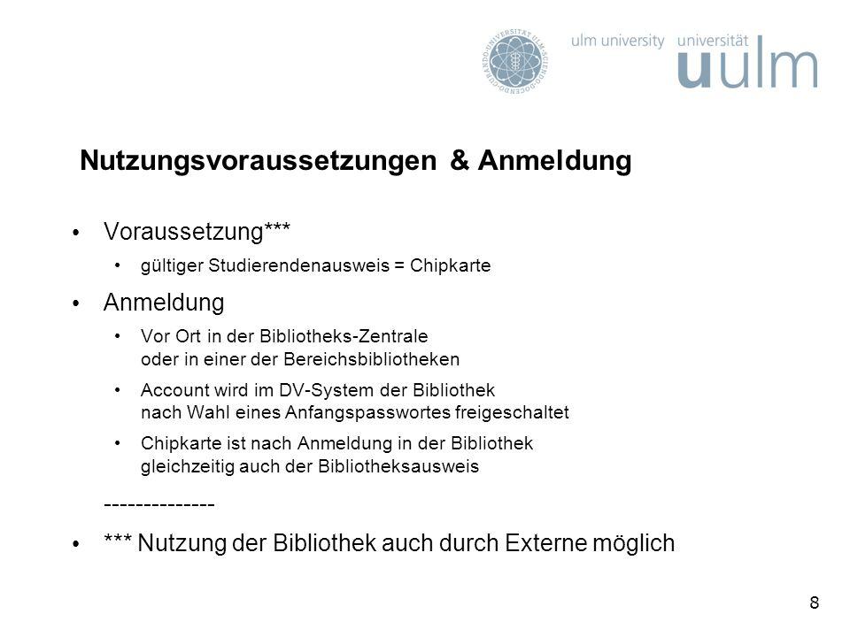 29 Die Chipkarte (1) Ausweis für Mitglieder der Universität Ulm Studierende, Beschäftigte, …; auch für Gäste Bibliotheksausweis nach Freischaltung des Accounts vor Ort in der Bibliothek Wahlausweis bei studentischen Wahlen Zugangskarte z.