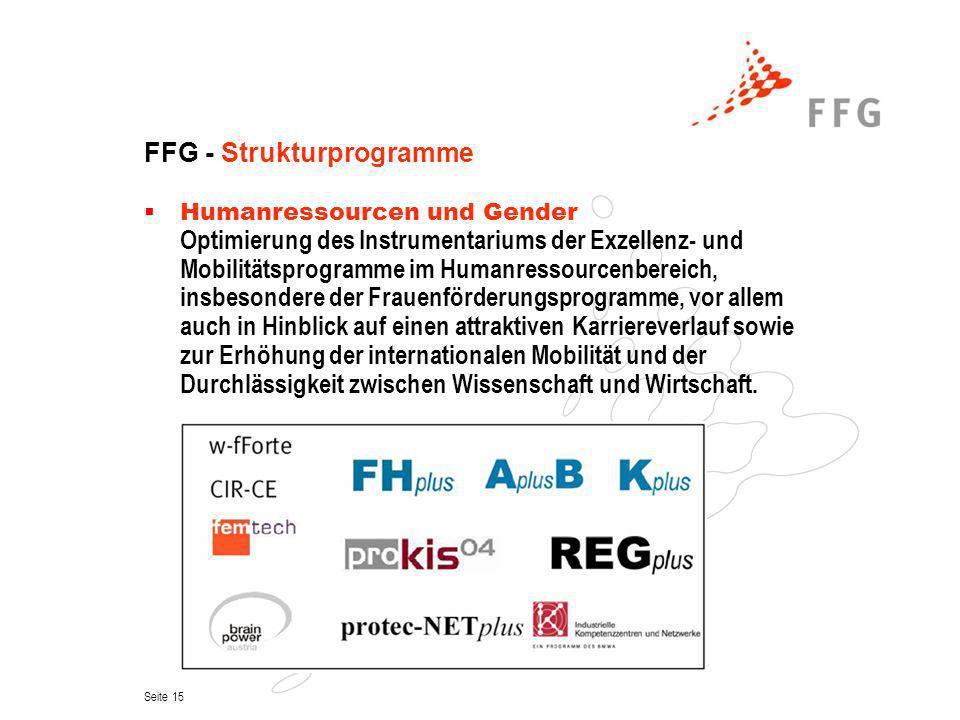 Seite 15 FFG - Strukturprogramme Humanressourcen und Gender Optimierung des Instrumentariums der Exzellenz- und Mobilitätsprogramme im Humanressourcen