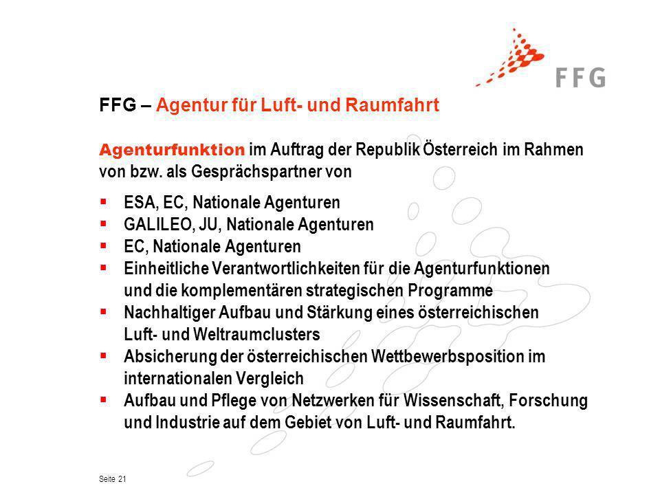 Seite 21 FFG – Agentur für Luft- und Raumfahrt Agenturfunktion im Auftrag der Republik Österreich im Rahmen von bzw. als Gesprächspartner von ESA, EC,