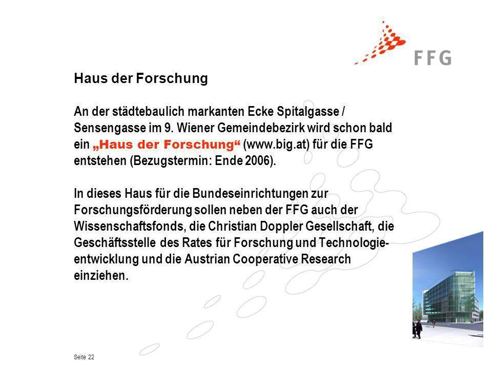 Seite 22 Haus der Forschung An der städtebaulich markanten Ecke Spitalgasse / Sensengasse im 9. Wiener Gemeindebezirk wird schon bald ein Haus der For