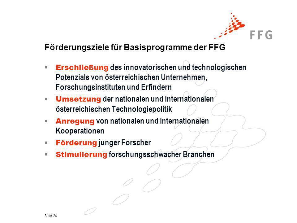 Seite 24 Förderungsziele für Basisprogramme der FFG Erschließung des innovatorischen und technologischen Potenzials von österreichischen Unternehmen,