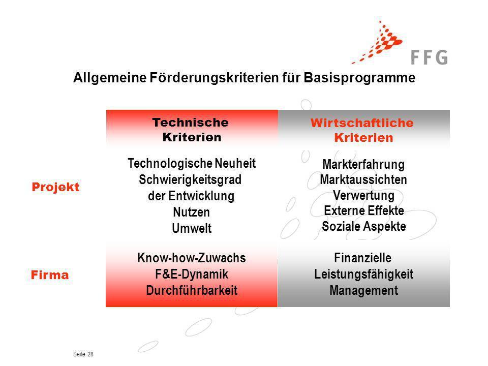 Seite 28 Allgemeine Förderungskriterien für Basisprogramme Technische Kriterien Wirtschaftliche Kriterien Markterfahrung Marktaussichten Verwertung Ex