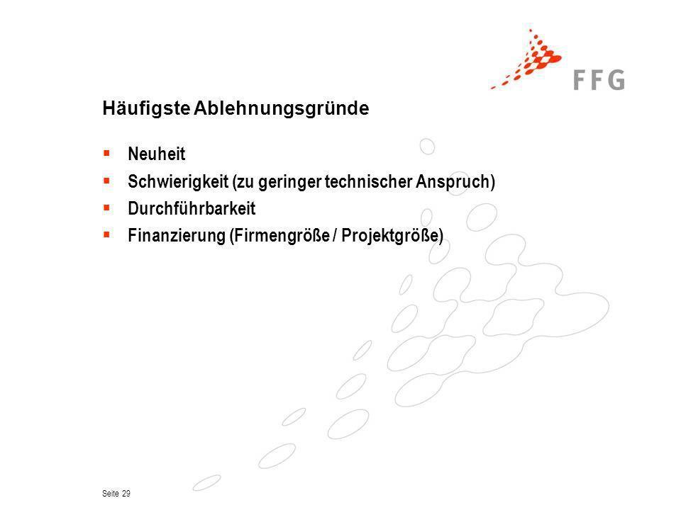Seite 29 Häufigste Ablehnungsgründe Neuheit Schwierigkeit (zu geringer technischer Anspruch) Durchführbarkeit Finanzierung (Firmengröße / Projektgröße