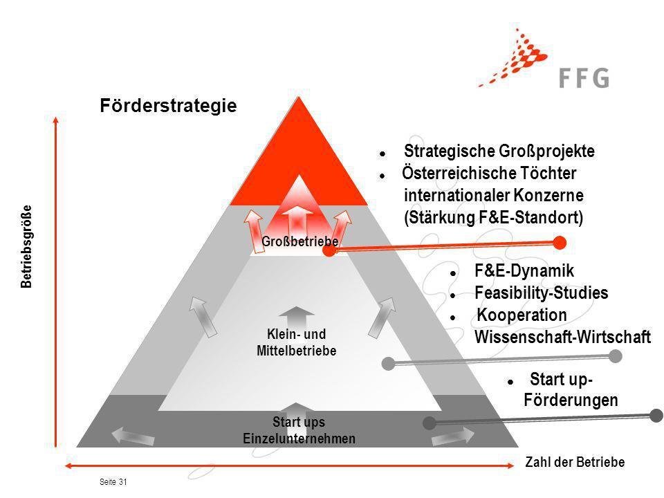 Seite 31 Förderstrategie Strategische Großprojekte Österreichische Töchter internationaler Konzerne (Stärkung F&E-Standort) F&E-Dynamik Feasibility-St