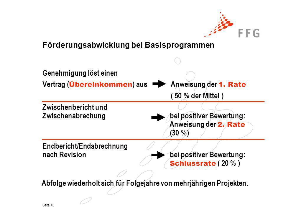 Seite 45 Förderungsabwicklung bei Basisprogrammen Zwischenbericht und Zwischenabrechung bei positiver Bewertung: Anweisung der 2. Rate (30 %) Endberic