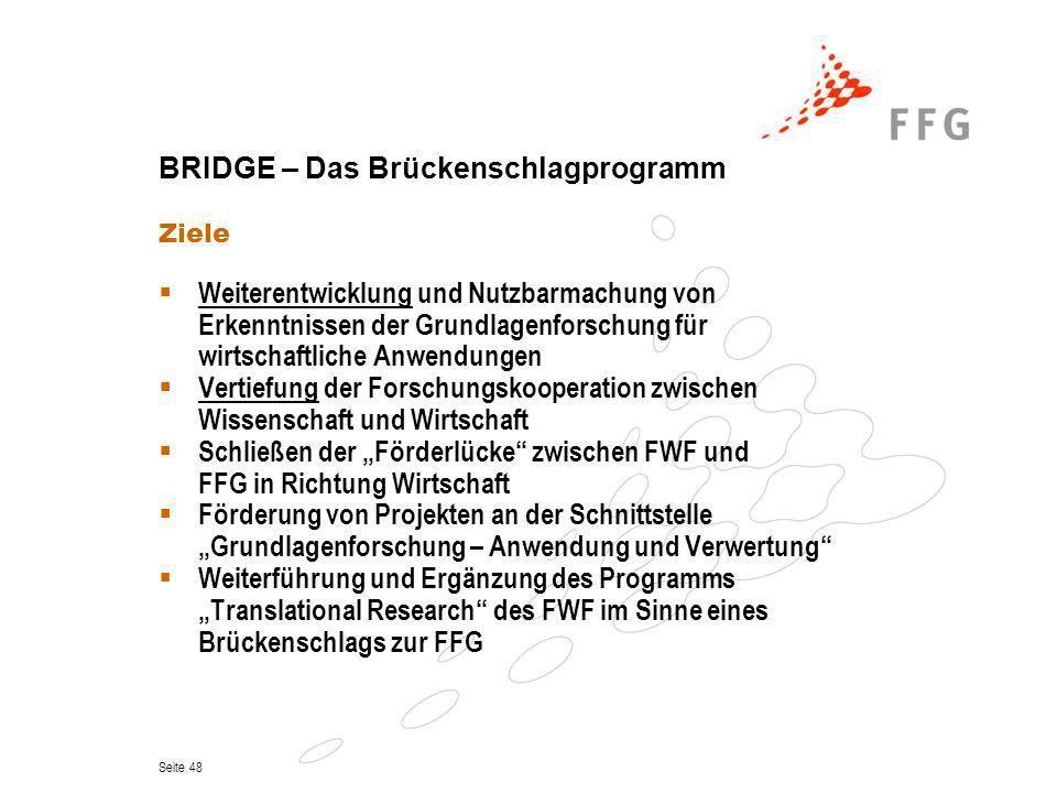 Seite 48 BRIDGE – Das Brückenschlagprogramm Ziele Weiterentwicklung und Nutzbarmachung von Erkenntnissen der Grundlagenforschung für wirtschaftliche A