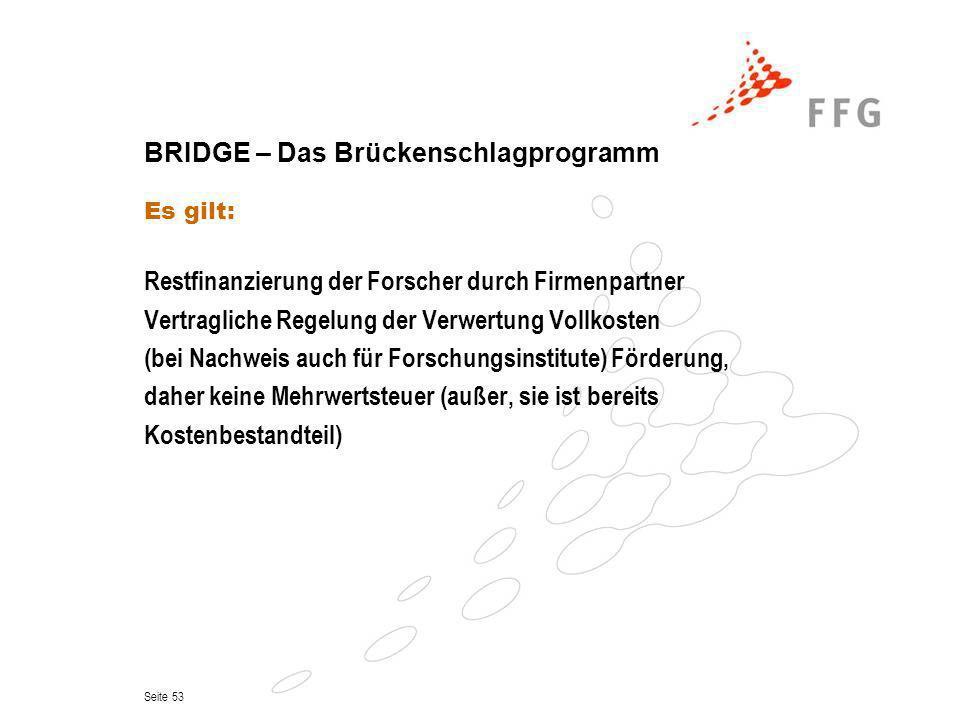 Seite 53 BRIDGE – Das Brückenschlagprogramm Es gilt: Restfinanzierung der Forscher durch Firmenpartner Vertragliche Regelung der Verwertung Vollkosten