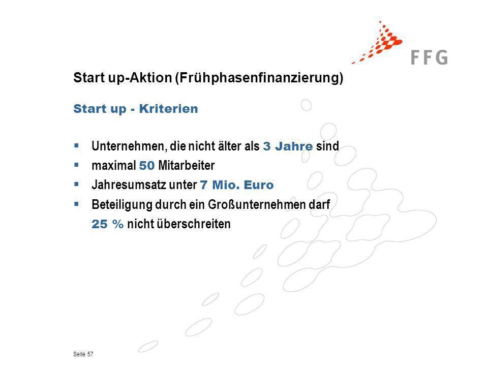 Seite 57 Start up-Aktion (Frühphasenfinanzierung) Start up - Kriterien Unternehmen, die nicht älter als 3 Jahre sind maximal 50 Mitarbeiter Jahresumsa