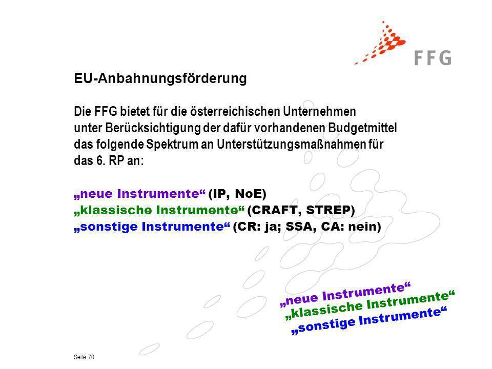 Seite 70 EU-Anbahnungsförderung Die FFG bietet für die österreichischen Unternehmen unter Berücksichtigung der dafür vorhandenen Budgetmittel das folg