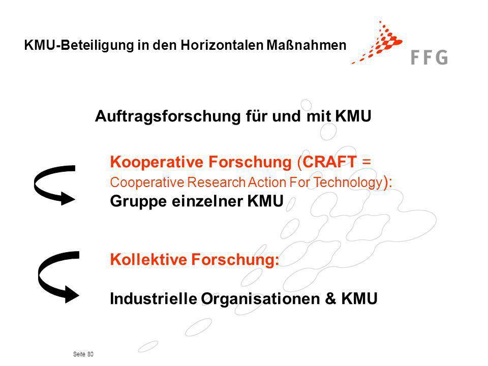 Seite 80 Auftragsforschung für und mit KMU Kooperative Forschung (CRAFT = Cooperative Research Action For Technology ): Gruppe einzelner KMU Kollektiv