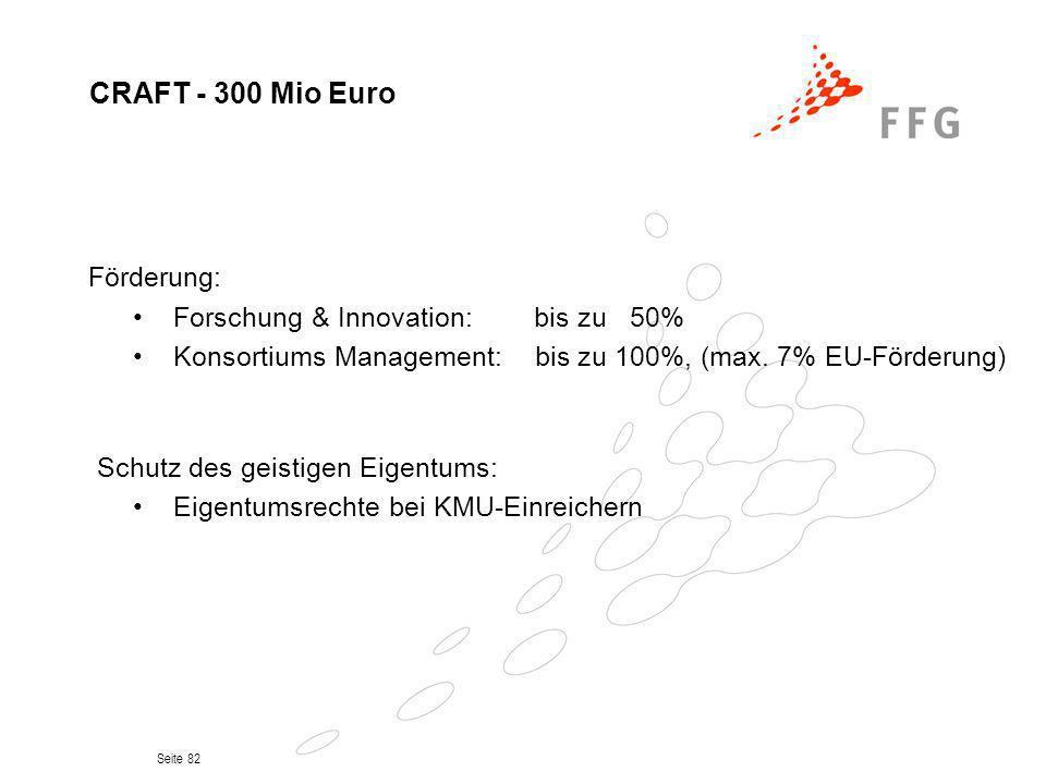 Seite 82 CRAFT - 300 Mio Euro Förderung: Forschung & Innovation: bis zu 50% Konsortiums Management: bis zu 100%, (max. 7% EU-Förderung) Schutz des gei