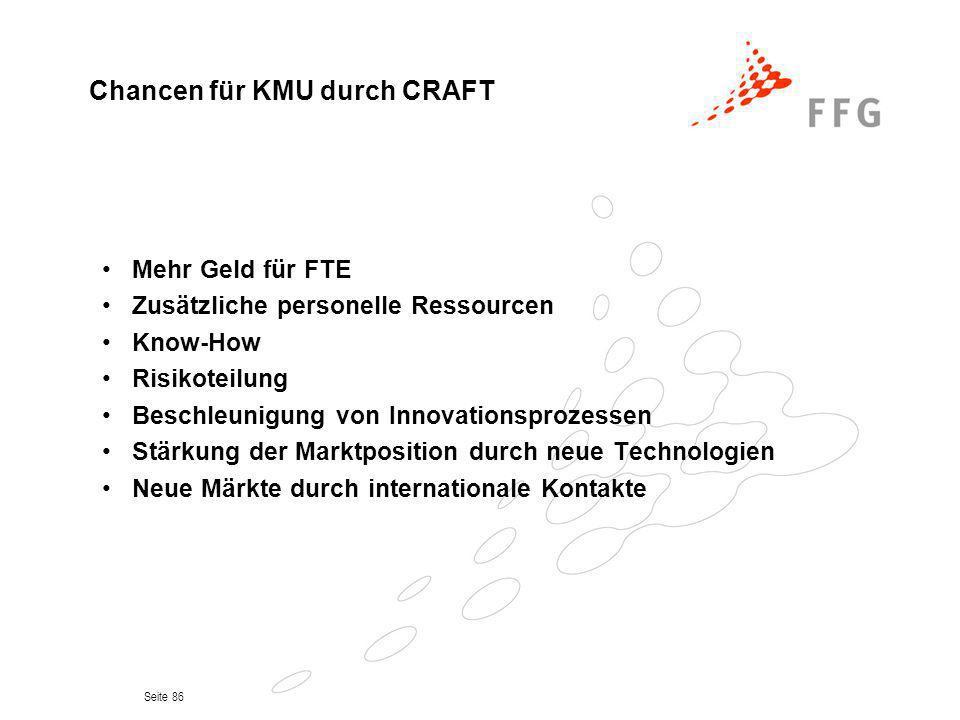 Seite 86 Mehr Geld für FTE Zusätzliche personelle Ressourcen Know-How Risikoteilung Beschleunigung von Innovationsprozessen Stärkung der Marktposition