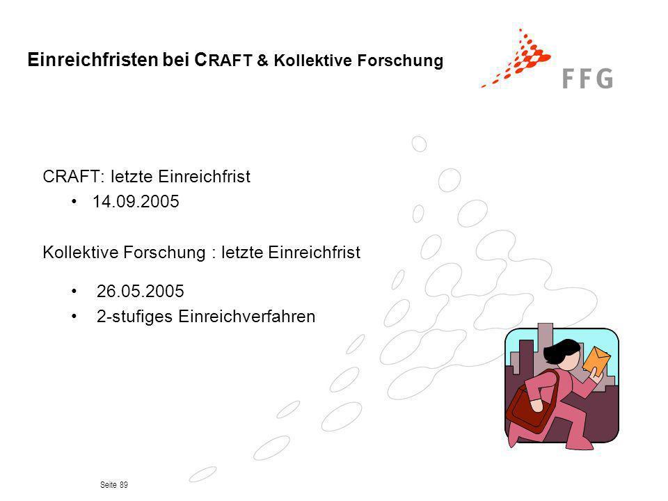 Seite 89 Einreichfristen bei C RAFT & Kollektive Forschung CRAFT: letzte Einreichfrist 14.09.2005 Kollektive Forschung : letzte Einreichfrist 26.05.20