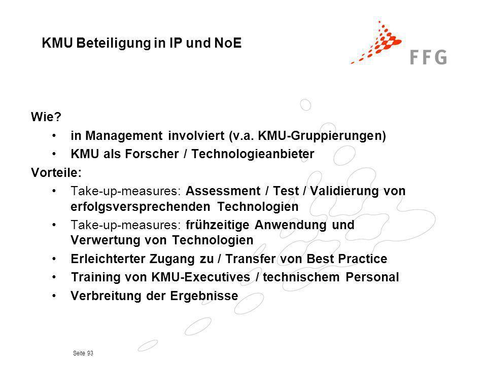 Seite 93 Wie? in Management involviert (v.a. KMU-Gruppierungen) KMU als Forscher / Technologieanbieter Vorteile: Take-up-measures: Assessment / Test /