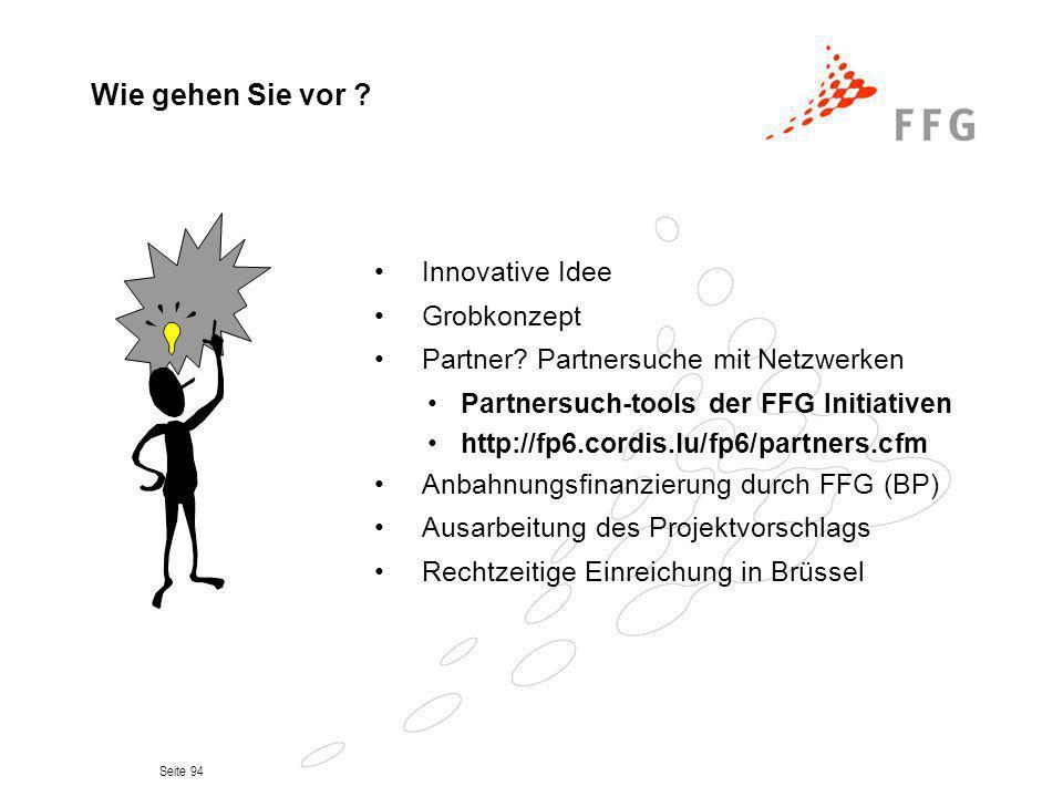 Seite 94 Wie gehen Sie vor ? Innovative Idee Grobkonzept Partner? Partnersuche mit Netzwerken Partnersuch-tools der FFG Initiativen http://fp6.cordis.