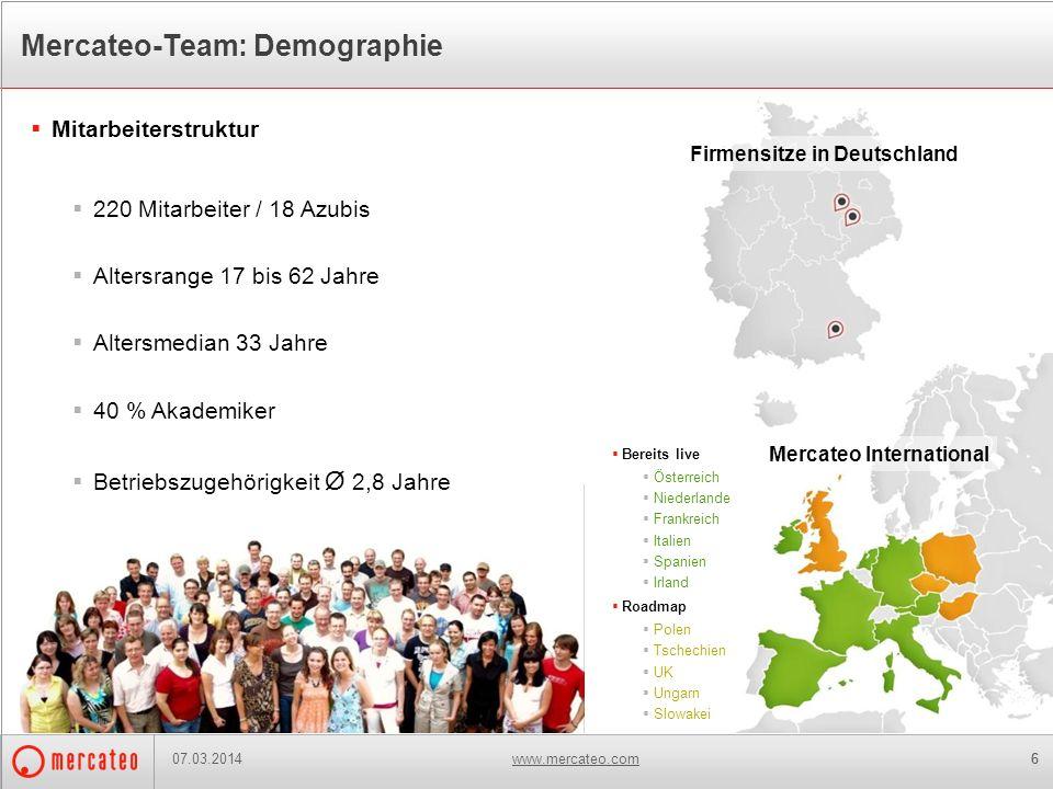 www.mercateo.com66 Mercateo-Team: Demographie Mitarbeiterstruktur 220 Mitarbeiter / 18 Azubis Altersrange 17 bis 62 Jahre Altersmedian 33 Jahre 40 % A