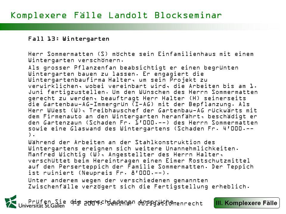 FS 2009: Seminar Obligationenrecht Komplexere Fälle Landolt Blockseminar Fall 14: Die Auktion Im Oktober 1991 veranstaltete C eine Internationale Swatch- Auktion in Luzern.