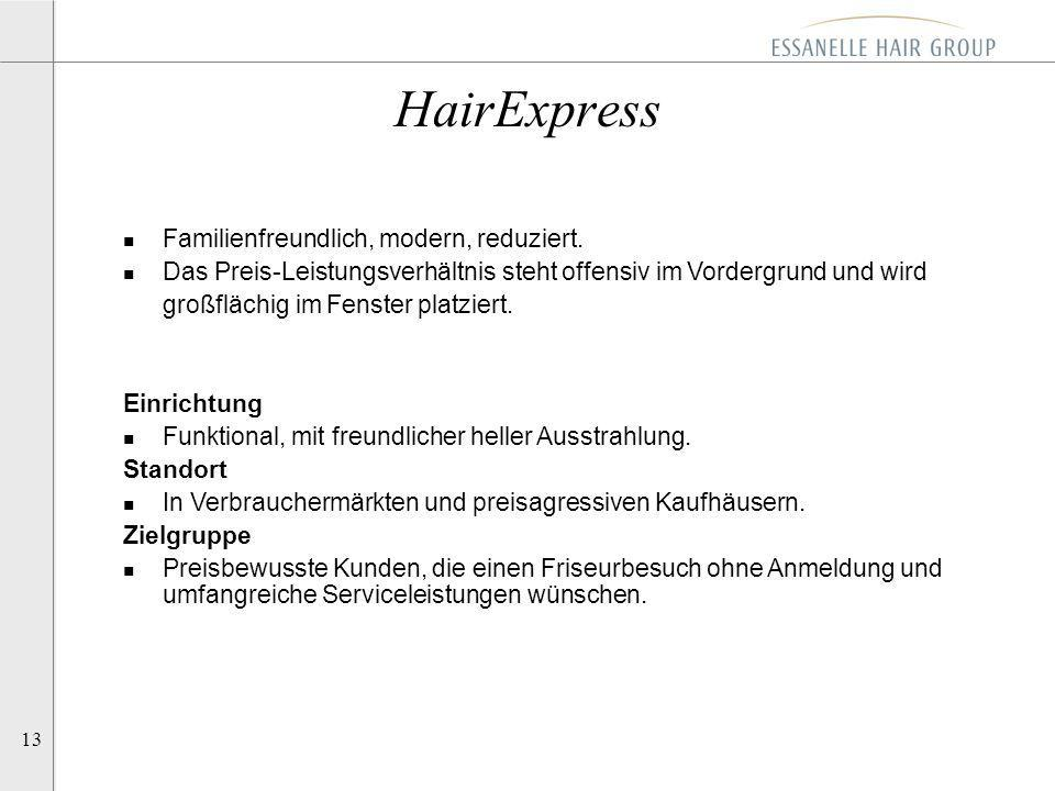 13 HairExpress n Familienfreundlich, modern, reduziert. n Das Preis-Leistungsverhältnis steht offensiv im Vordergrund und wird großflächig im Fenster