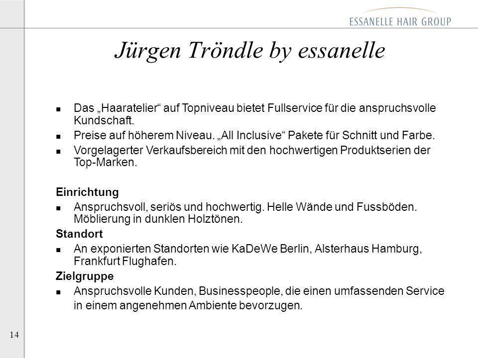 14 Jürgen Tröndle by essanelle n Das Haaratelier auf Topniveau bietet Fullservice für die anspruchsvolle Kundschaft. n Preise auf höherem Niveau. All