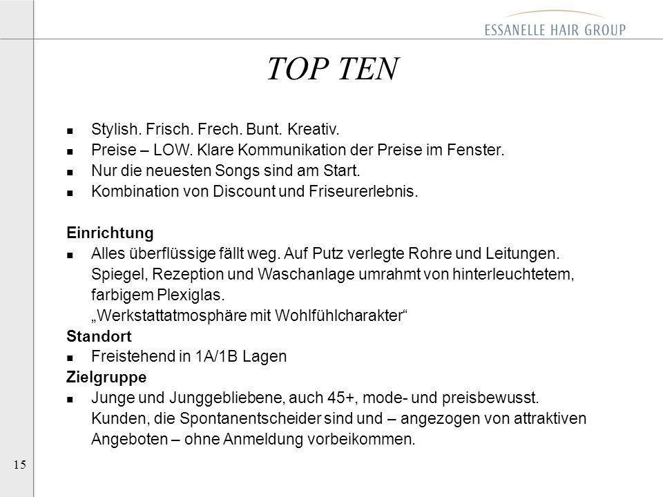 15 TOP TEN n Stylish. Frisch. Frech. Bunt. Kreativ. n Preise – LOW. Klare Kommunikation der Preise im Fenster. n Nur die neuesten Songs sind am Start.